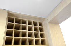 Clean and comfortable home kitchen.Wine storage ca stock image