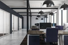 Clean coworking office. Interior with city view, daylight and equipment. 3D Rendering stock photo