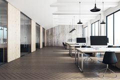 Clean coworking office interior. With equipment, furniture, city view and daylight. 3D Rendering Royalty Free Stock Photography