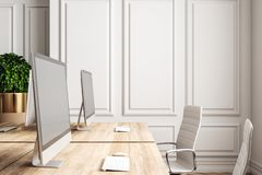 Clean coworking office. In white classic interior with wooden floor. 3D Rendering royalty free illustration
