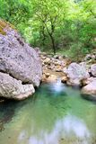 Clean creek water pool with big rocks Stock Images