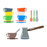Clean cups and coffee dishware vector illustration. Royalty Free Stock Images