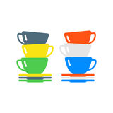 Clean cups and dishware vector illustration. Royalty Free Stock Photo
