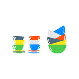Clean cups and dishware vector illustration. Royalty Free Stock Photos