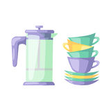 Clean cups dishware vector illustration. Stock Photography