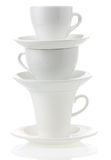 Clean cups and saucer. On white background Stock Photography