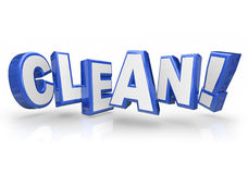 Clean 3d Blue Word Letters Safe Cleanliness. Clean word in 3d blue letters illustrating you are tidy, inspected and approved with high cleanliness Stock Image
