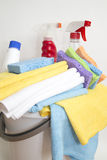 Clean damp cloth and detergents background Royalty Free Stock Photos