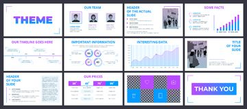 Business presentation template with gradient violet and blue ele Royalty Free Stock Photography