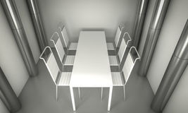 Clean diner room, chairs and white table  over clean space. silv Royalty Free Stock Images