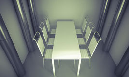 Clean diner room, chairs and white table  over clean space. silv Royalty Free Stock Photo