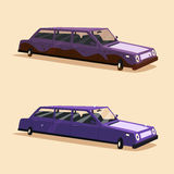 Clean and dirty vintage american limousine. Cartoon vector illustration Royalty Free Stock Images