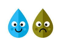 Clean and dirty water drops characters icon  on white background. Ecology concept. Royalty Free Stock Photography