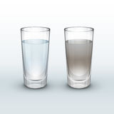 Clean, dirty water. Vector clean and dirty water in glass isolated on light background vector illustration