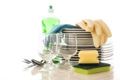 Clean dishes. Over white background Stock Images