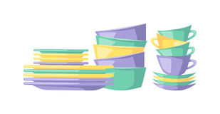 Clean dishes empty dishware kitchen utensil cooking tableware flat vector illustration. Royalty Free Stock Photo