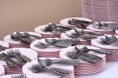 Clean dishes, forks and spoons Royalty Free Stock Image