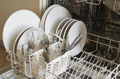 Clean dishes and silverware Stock Photos