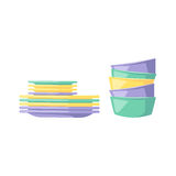 Clean dishware vector illustration. Stock Photography