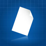 Clean document sheet over blueprint. White clean document sheet over blueprint paper background Royalty Free Stock Image