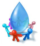 Clean drinking water symbol. World water health network of world cooperation represented by a blue drop of h2o and human characters of different colors connected Stock Images