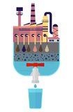 Clean drinking water of toxic industrial pollution. Multistage filter for dirty water.Ecology design concept with air, water and soil pollution. Flat icons stock illustration