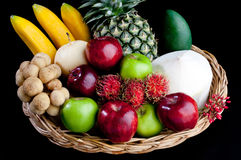 Variety fruits in the basket isolated  Stock Image