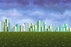 Clean ecological city over green summer meadow vector illustration