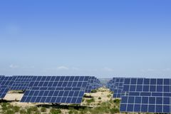 Clean electric energy solar plates generators Stock Photography
