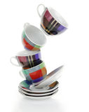 Clean empty colorful plates and cups Royalty Free Stock Photography