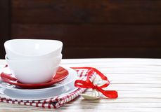 Clean empty dishes cups and plates Stock Images