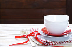 Clean empty dishes cups and plates Stock Photo