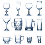 Clean empty glassware collection Royalty Free Stock Image