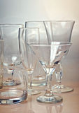 Clean empty glassware collection Royalty Free Stock Images