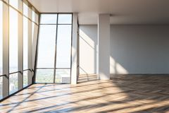 Clean empty office interior. With wooden floor, panoramic city view, sunlight and shadows. 3D Rendering vector illustration