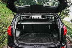 clean empty trunk of black hatchback in a forest Royalty Free Stock Photography