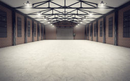 Clean empty warehouse interior stock illustration
