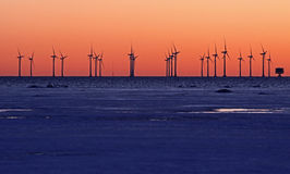 Clean energy. Sunset in the park of wind turbines to sea. Future energy Stock Image