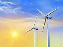 Clean energy. Renewable energy from sun and wind. Digital illustration Stock Photo