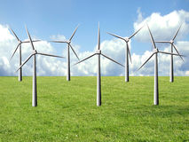 Clean energy. Windmill farm on a green field, clean energy source concept Royalty Free Stock Image