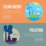 Clean energy and air pollution banners Royalty Free Stock Images