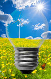 Clean energy background. A clean energy background with a light bulb and a wind turbine Royalty Free Stock Photos