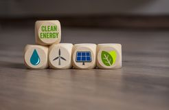 Clean Energy Climate Change Concept. Cubes dice Clean Energy Climate Change Concept with renewable energy royalty free stock photo