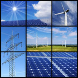 Clean energy collage. Green energy collage with solar panels, wind power and a pylon Stock Photos