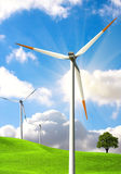 Clean energy concept. Windmill on blue sky Royalty Free Stock Images