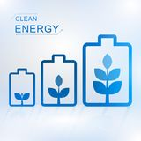 Clean energy concept with battery. And growth plant on white background, ecology concept, vector illustration royalty free illustration