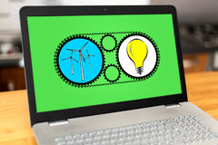 Clean energy concept on a laptop Stock Photo