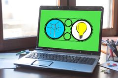 Clean energy concept on a laptop screen Stock Photo