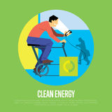 Clean energy concept. Man with generator Royalty Free Stock Image