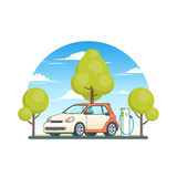 Clean Energy Ecological Concept. With electric car at charge station on summer nature landscape vector illustration vector illustration